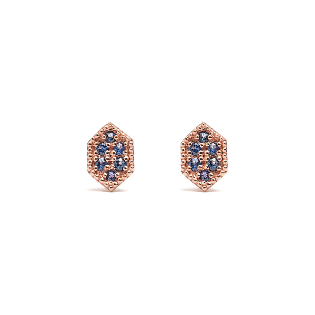 14k gold blue sapphire hexagon stud earrings - LODAGOLD