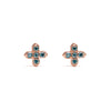 14k gold blue diamond T stud earrings - LODAGOLD