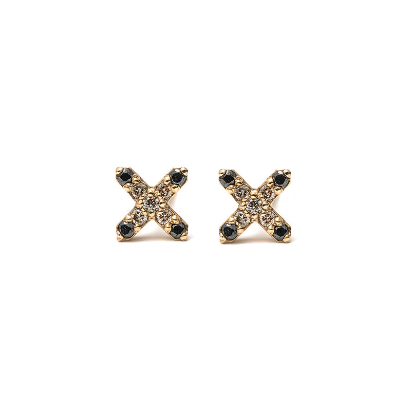 14k gold cognac&black diamond X earrings - LODAGOLD