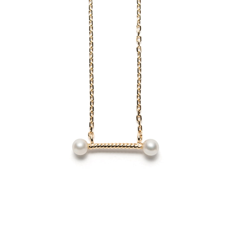 14k gold bar necklace w/pave and pearls - LODAGOLD