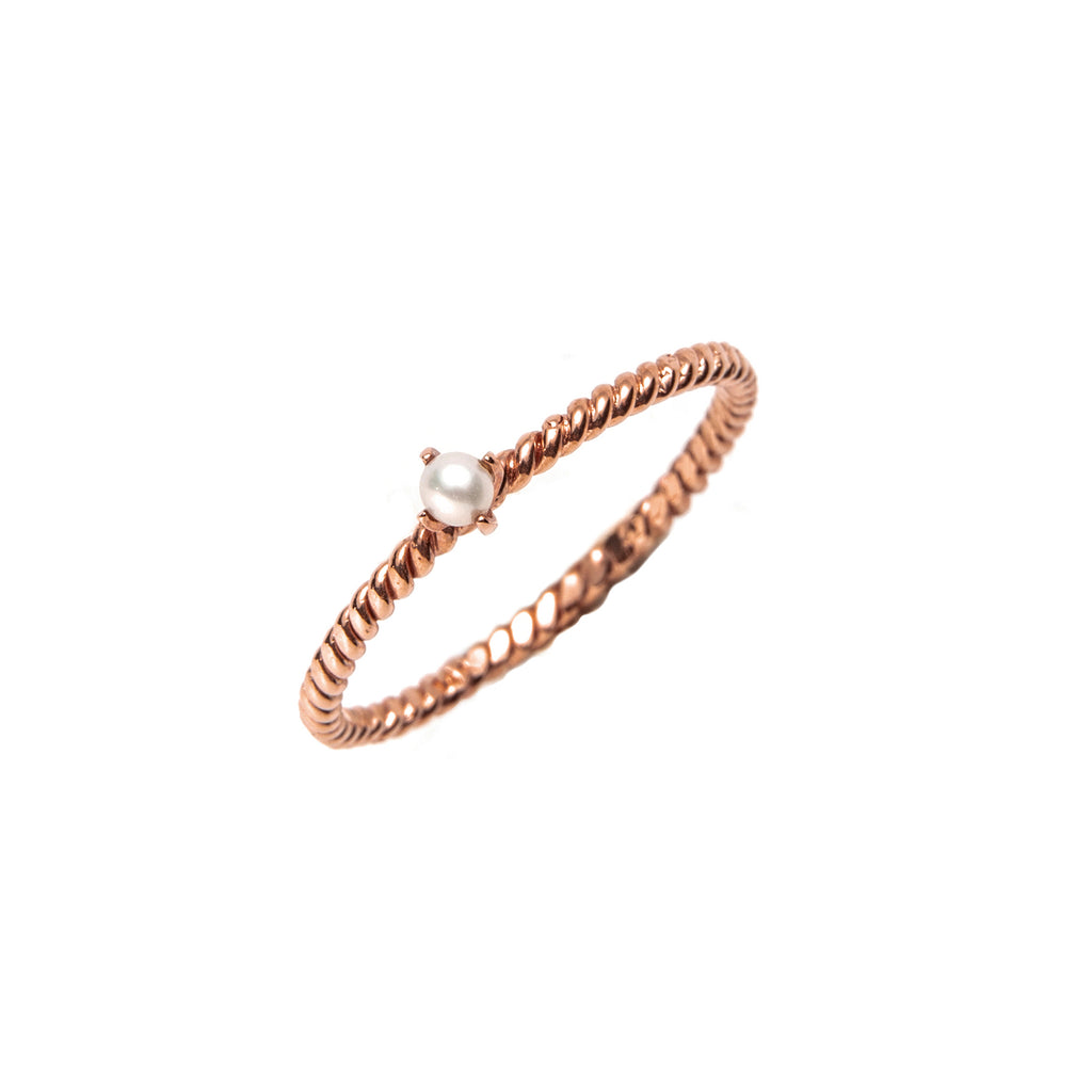 14k gold pearl twist ring - LODAGOLD
