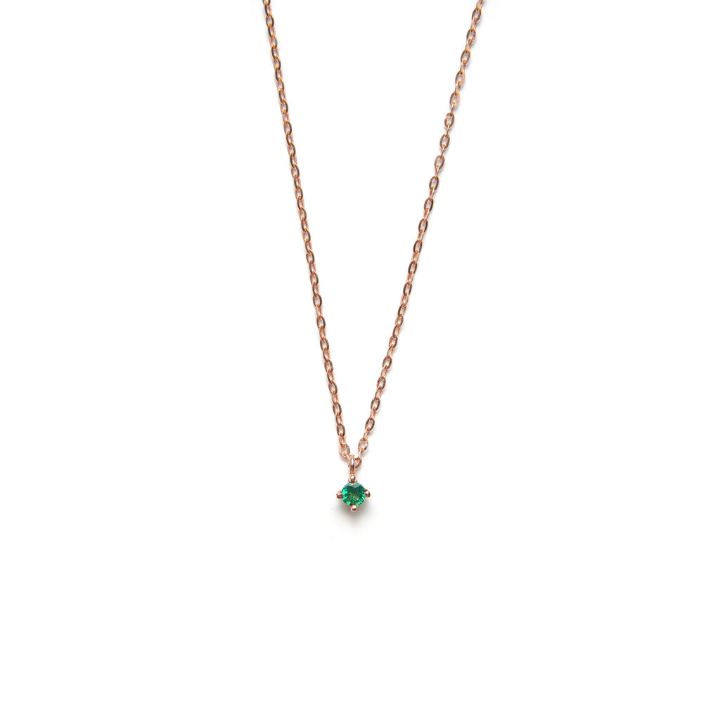 14k gold emerald necklace - LODAGOLD