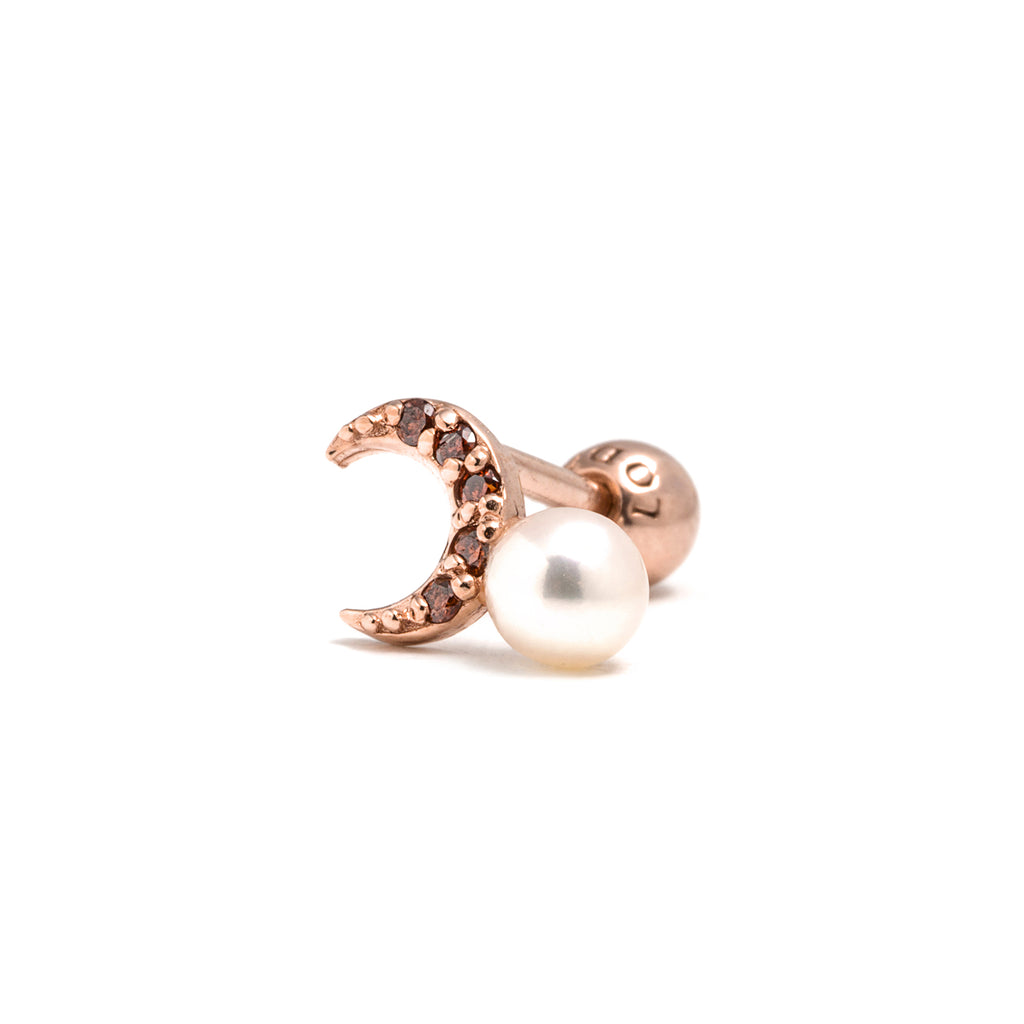 14k gold orange diamond&pearl moon piercing - LODAGOLD