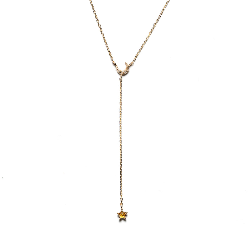 14k gold Lariat Moon&Star yellow&grey diamond necklace - LODAGOLD
