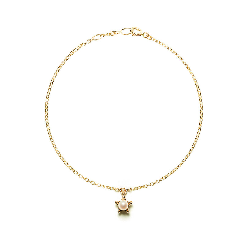 14k gold star bracelet with pearl - LODAGOLD
