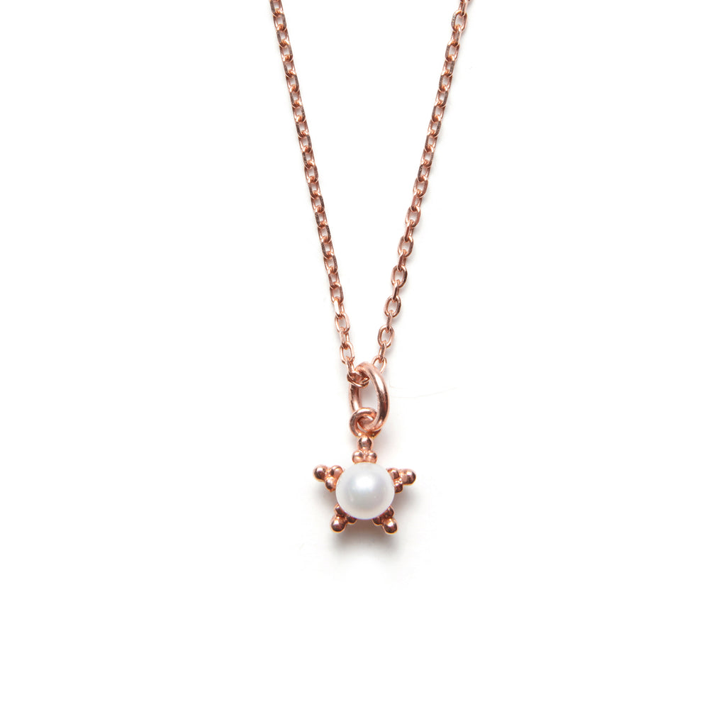 14k gold Star Necklace with Pearl Necklace - LODAGOLD