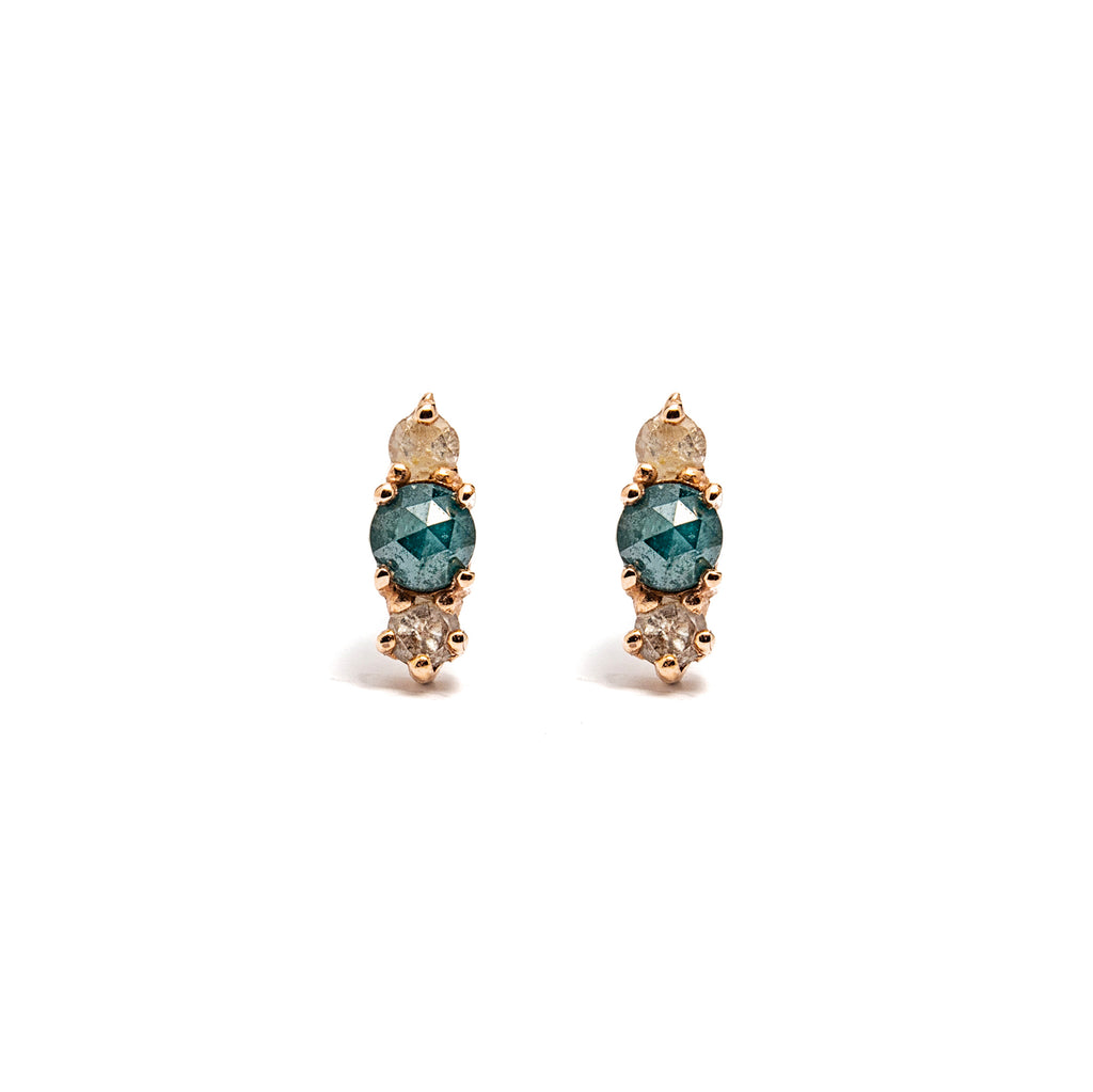 14k gold Blue&Grey Diamond Earrings - LODAGOLD