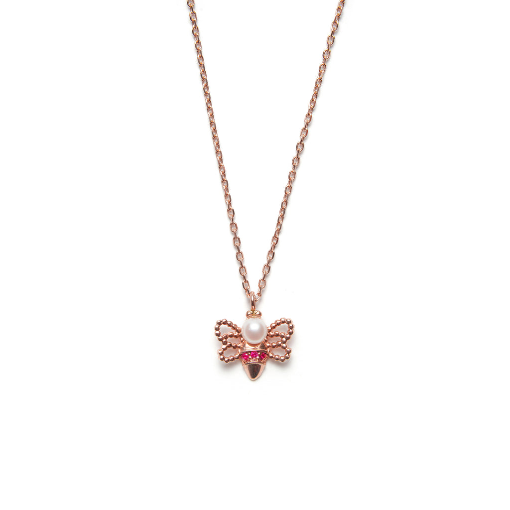 14k gold pearl&ruby bee Necklace - LODAGOLD