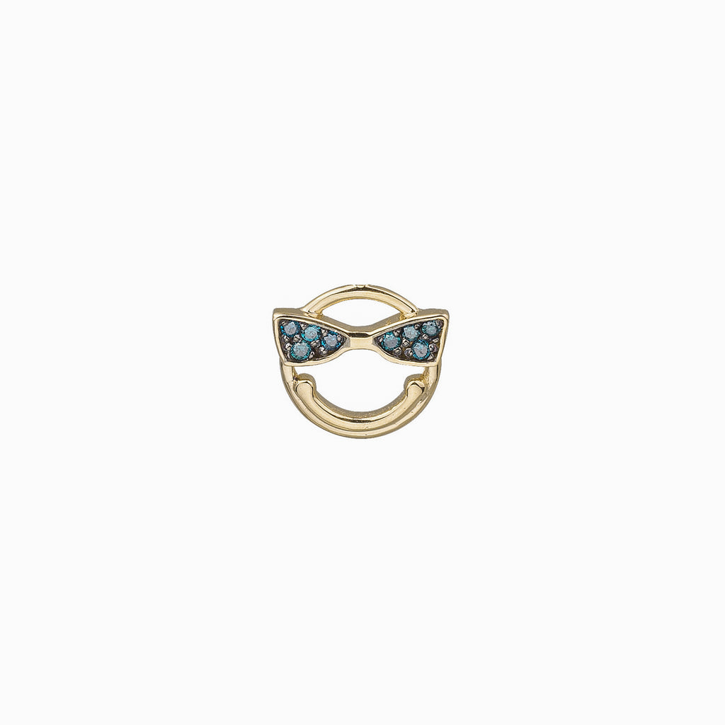 14k gold Blue Dia  Emoji single stud Earring - LODAGOLD