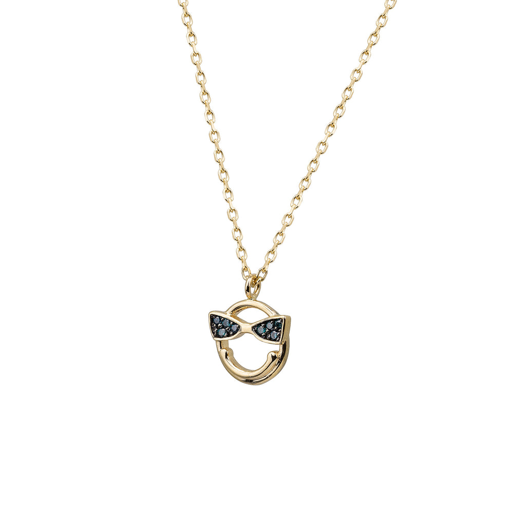 14k gold Emoji Blue Dia Smiley Face Necklace - LODAGOLD