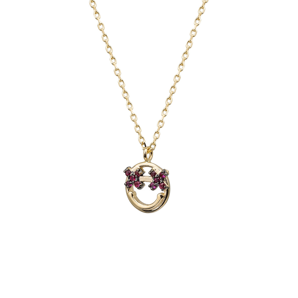 "14k gold Ruby ""X""Smiley Face Emoji Necklace - LODAGOLD"