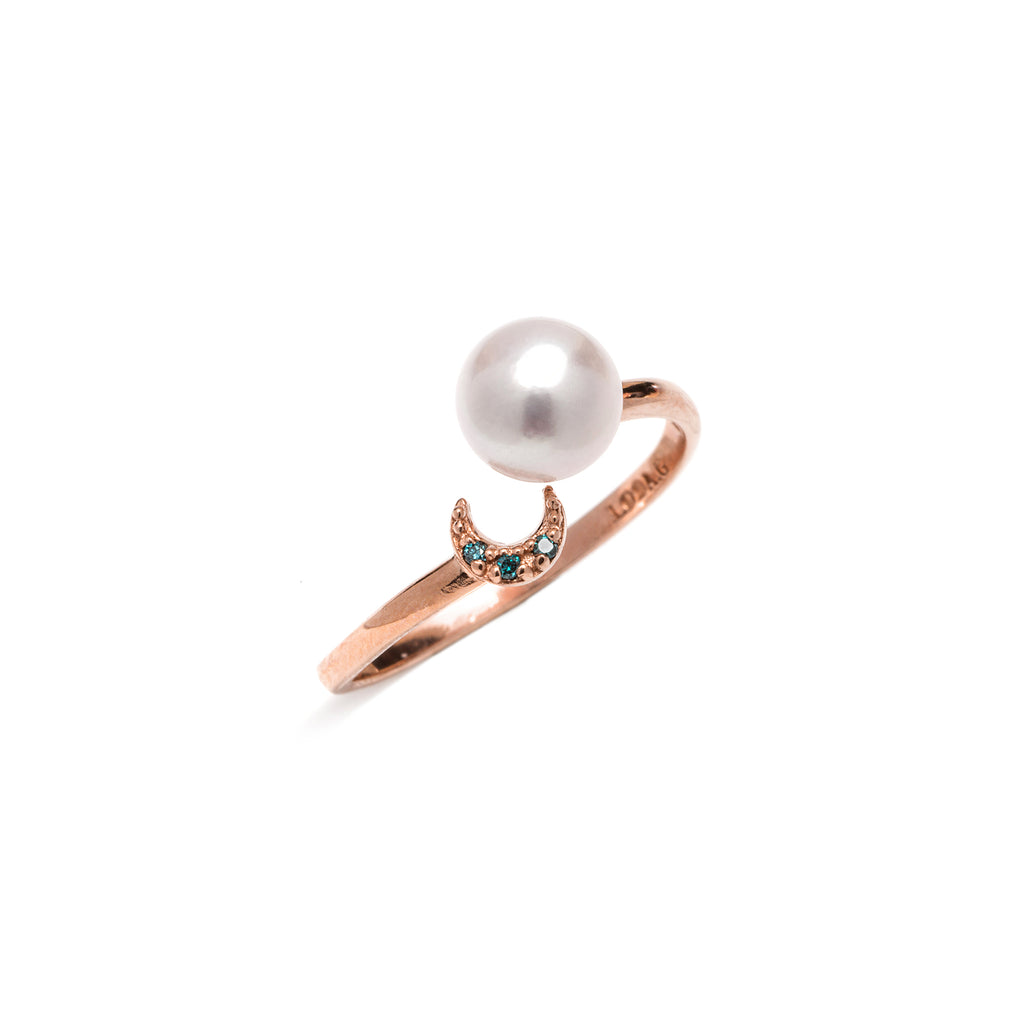 14k gold blue diamond&akoya pearl ring - LODAGOLD