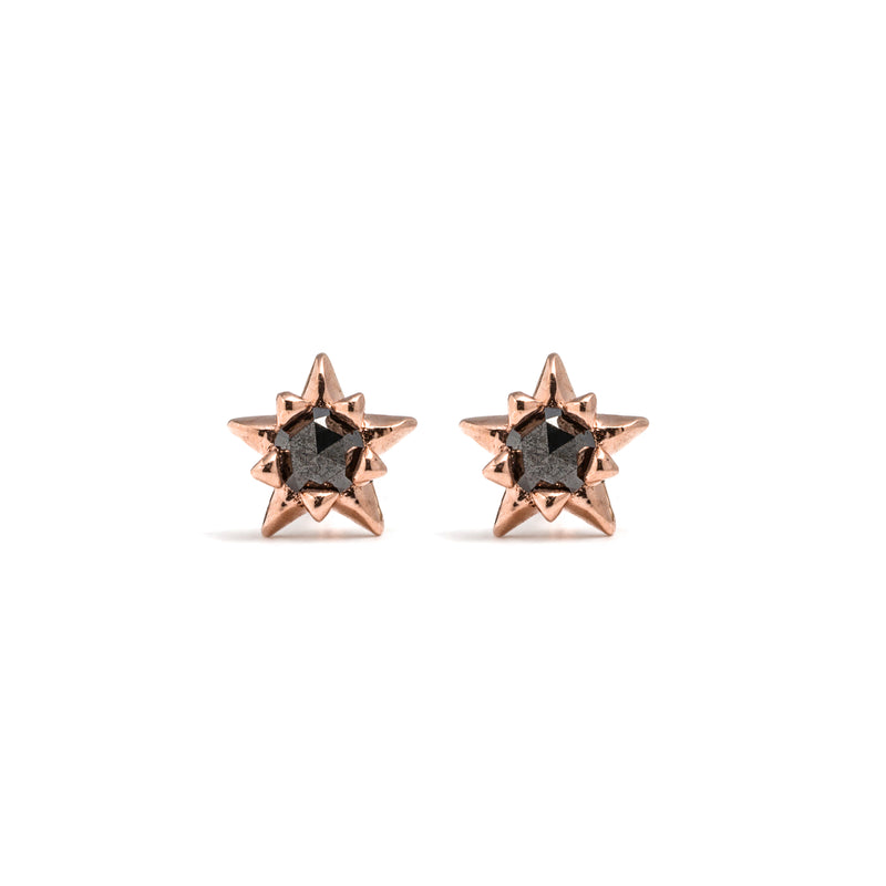 14k gold black diamond star stud earrings - LODAGOLD