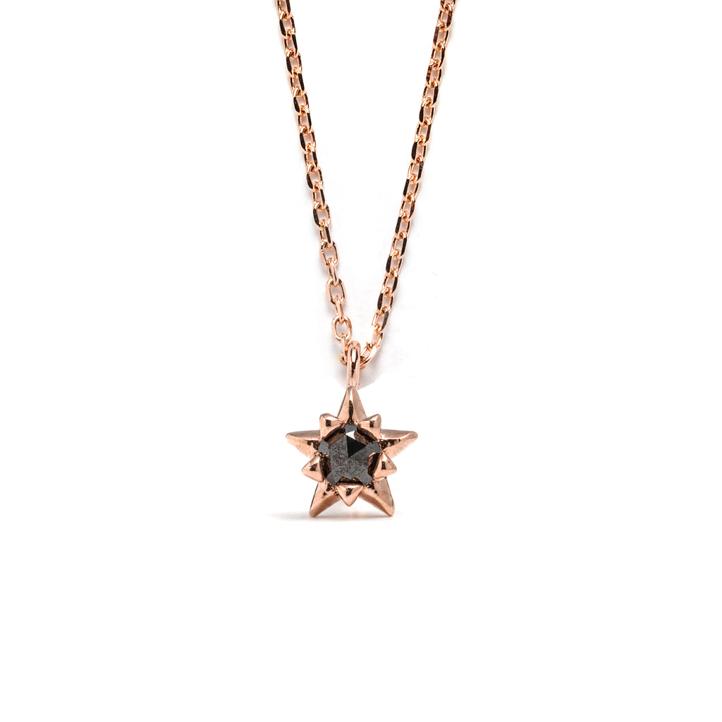 14k gold black diamond star Necklace - LODAGOLD