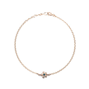14k gold grey&blue diamond flower bracelet - LODAGOLD