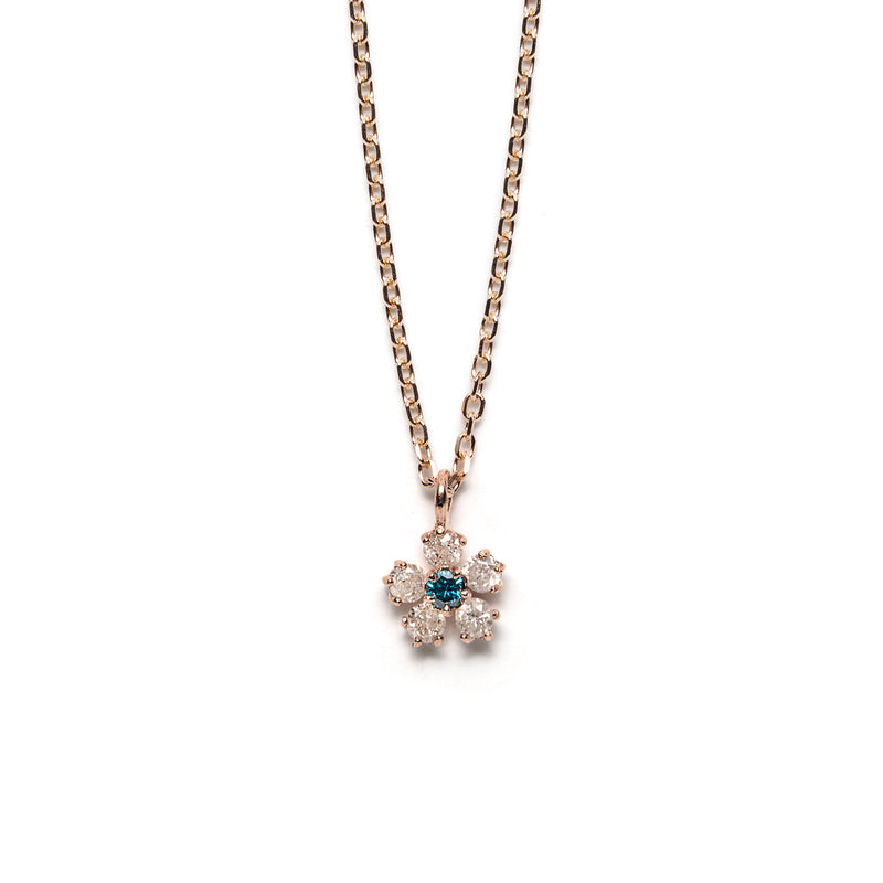 14k gold grey&blue diamond flower necklace - LODAGOLD