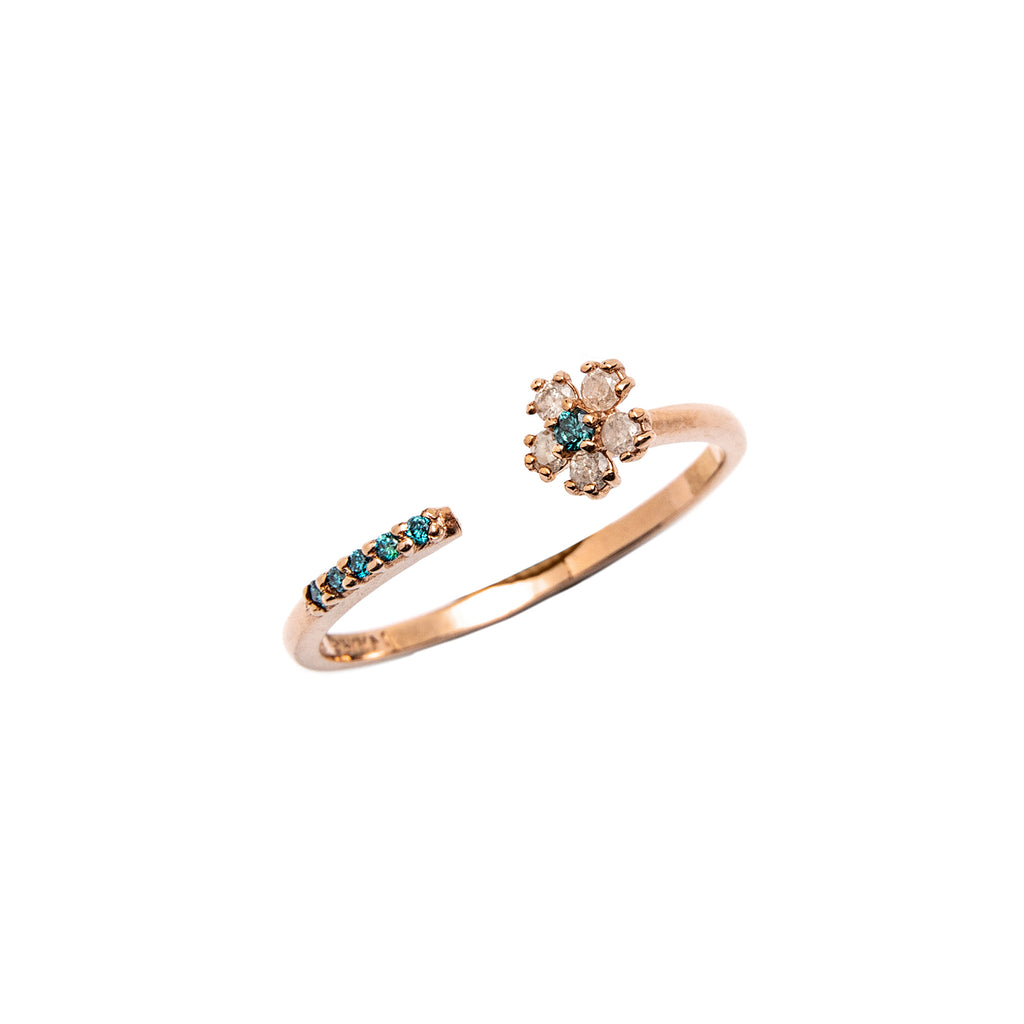 14k gold grey&blue diamond flower ring - LODAGOLD