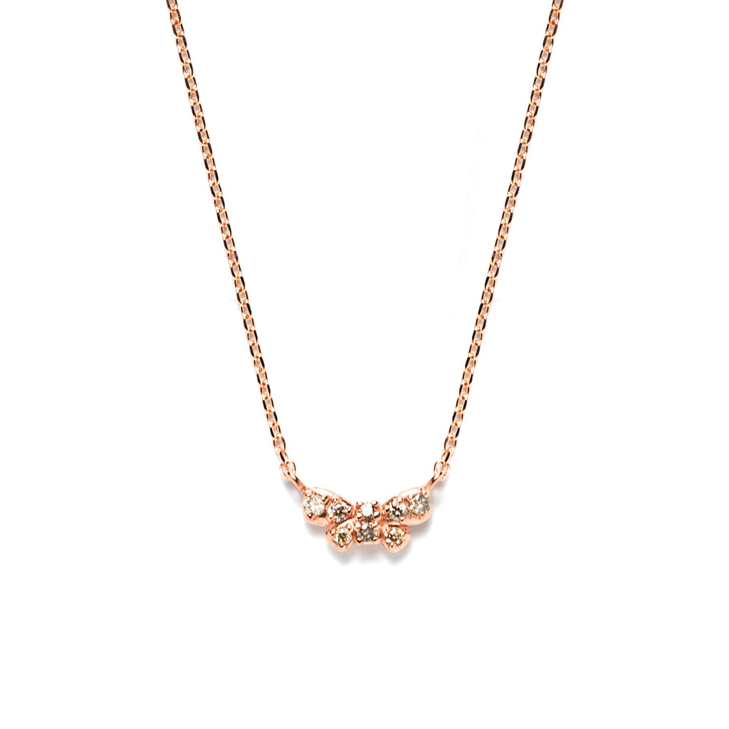 14k gold cognac diamond ribbon Necklace - LODAGOLD