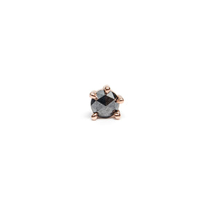 14k gold black diamond single stud Earring - LODAGOLD