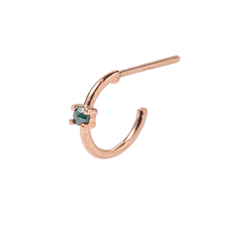14k rose gold blue diamond Huggie Hoop - LODAGOLD
