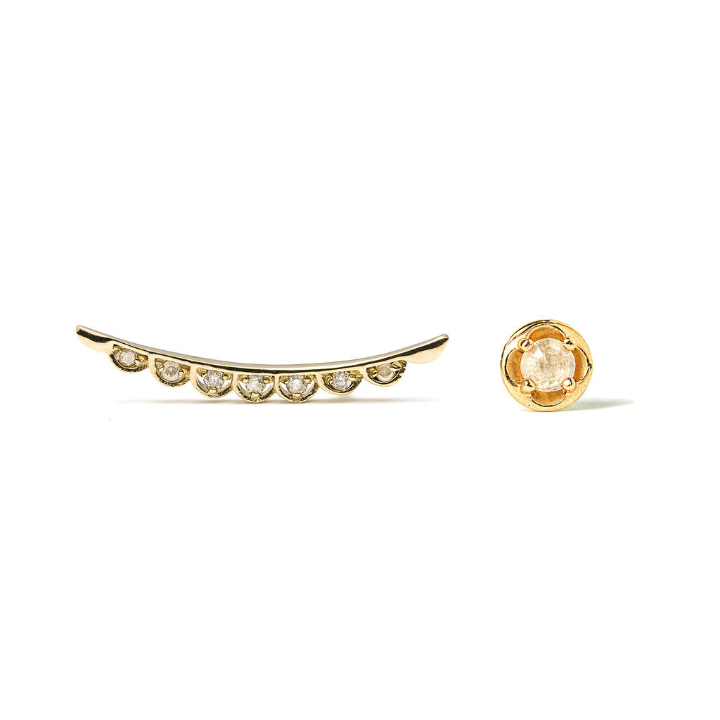 14k gold star stud mismatched earrings - LODAGOLD