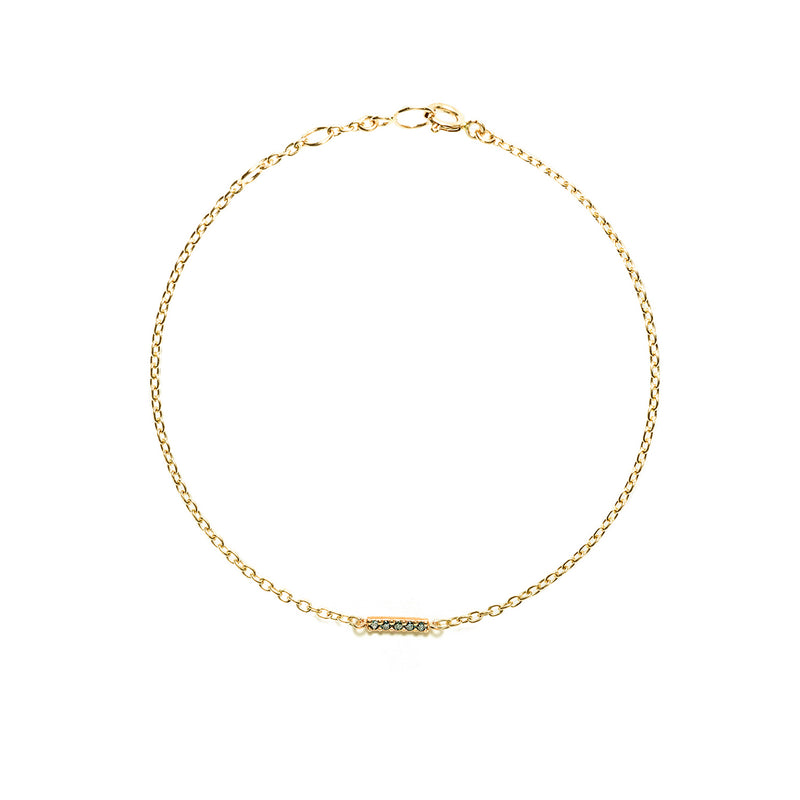 14k gold blue diamond bar bracelet - LODAGOLD