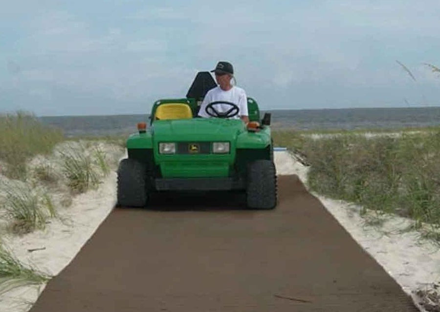Brown Mobi-Boat Ramp has been rolled out on sand on a beach track. A boat attached to the back of a green beach buggy is being reversed  into the ocean