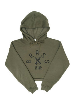 Brass Bae Cropped Fleece Hoodie.