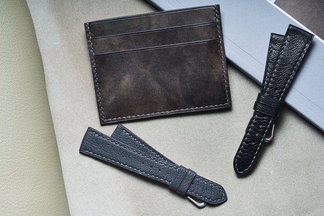 Goatskin watch straps slim card case wallet