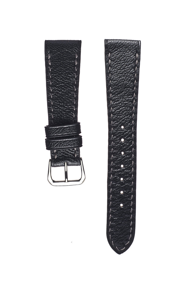Black goatskin hand sewn watch strap