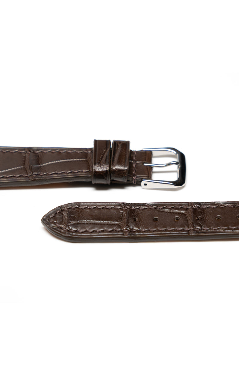 Chocolate Matte Alligator Watch Strap - David Lane Design