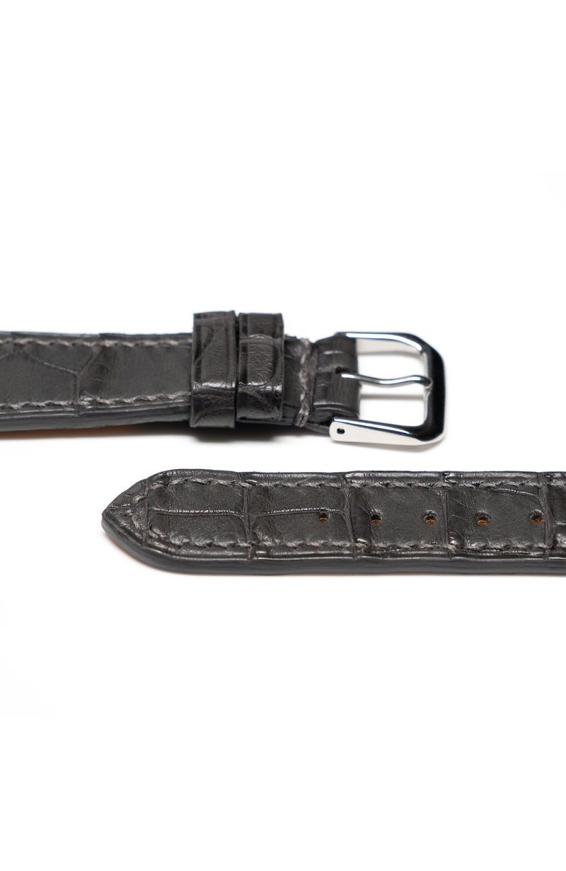 Slate Gray Matte Alligator Watch Strap - David Lane Design