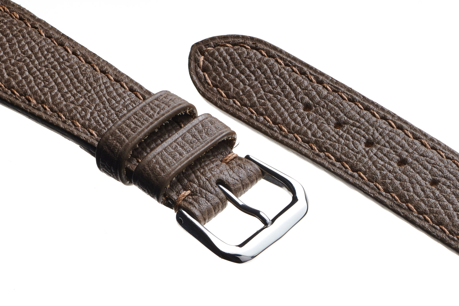 Taupe Epsom Grain Calfskin Watch Strap - David Lane Design