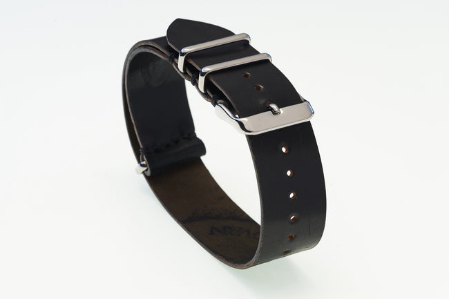Black Horween Shell Cordovan NATO Strap - David Lane Design