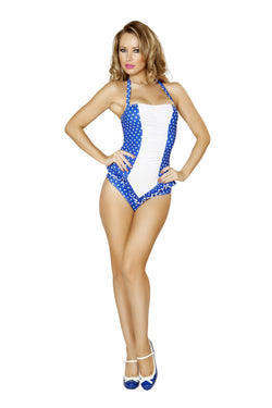 3118 - Blue and White Polkadot Scrunched Front Pinup Romper