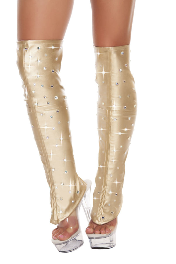 3234 - Leatherette Leg Warmers with Rhinestone Detail