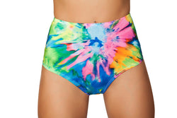 3319 - Tie Dye - Printed High-Waisted Puckered Shorts