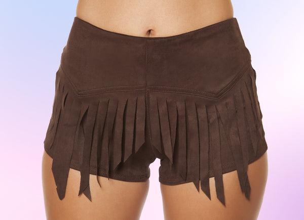 3407 - Suede Shorts with Fringe Detail