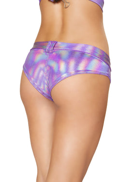 3621 - Purple - 1pc Mini Booty Shorts with Belt Loop and Buckle Front Detail