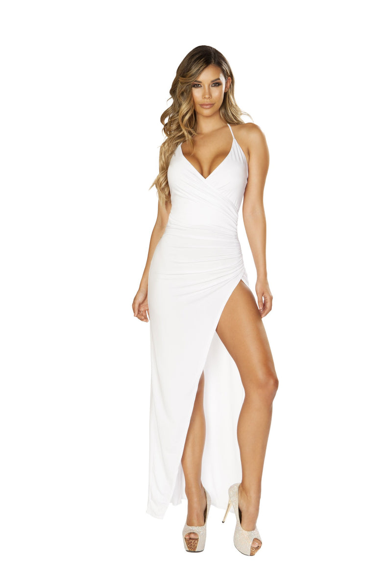 3654 Maxi Length Dress with Overlapping Scrunch & High Slit