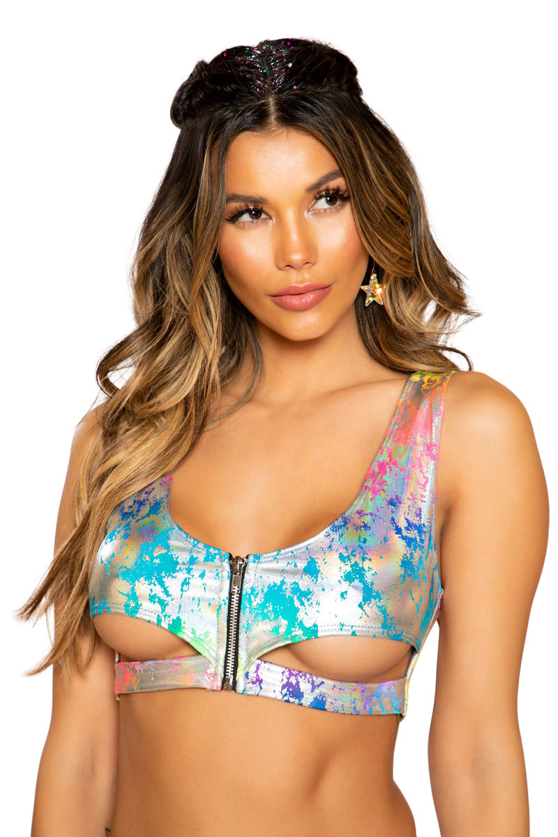 3742 - Rainbow Splash Crop Top with Underboob Cutout