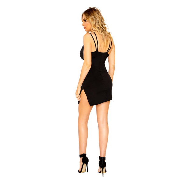 Criss-Cross Mini Dress with Slit Detail