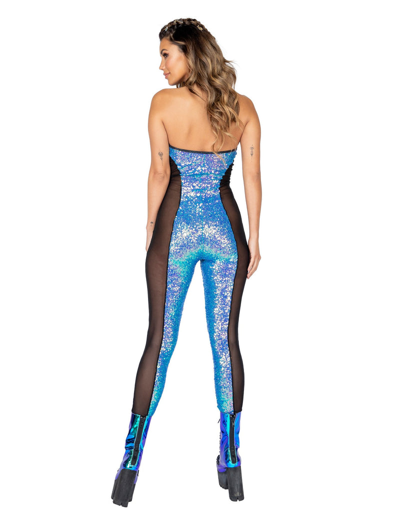 3802 - 1pc Haltered Catsuit with Mesh and Sequin Detail