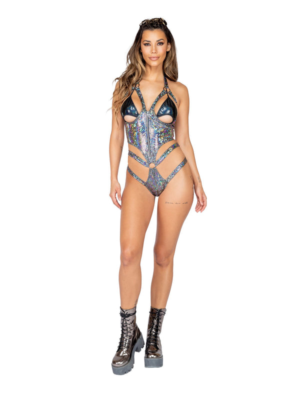3818 - 1pc Open Cup Shimmer Romper