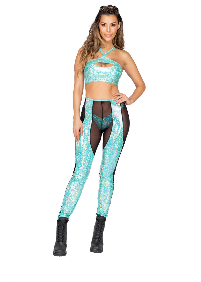 3859 - Two-Tone Sheer & Iridescent Pants