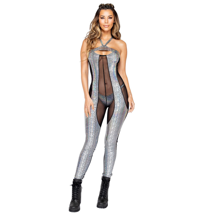 3860 - 1pc Two-Tone Sheer & Snakeskin Catsuit