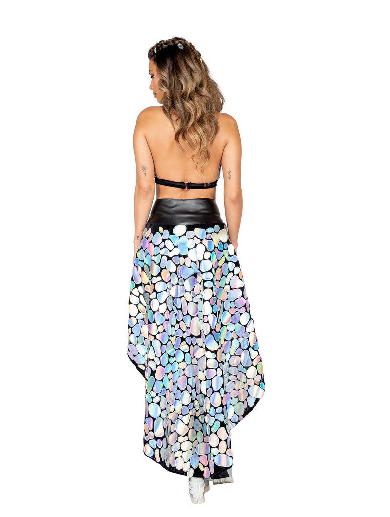 3871 - 1pc Long Metallic Spotted Flare Skirt