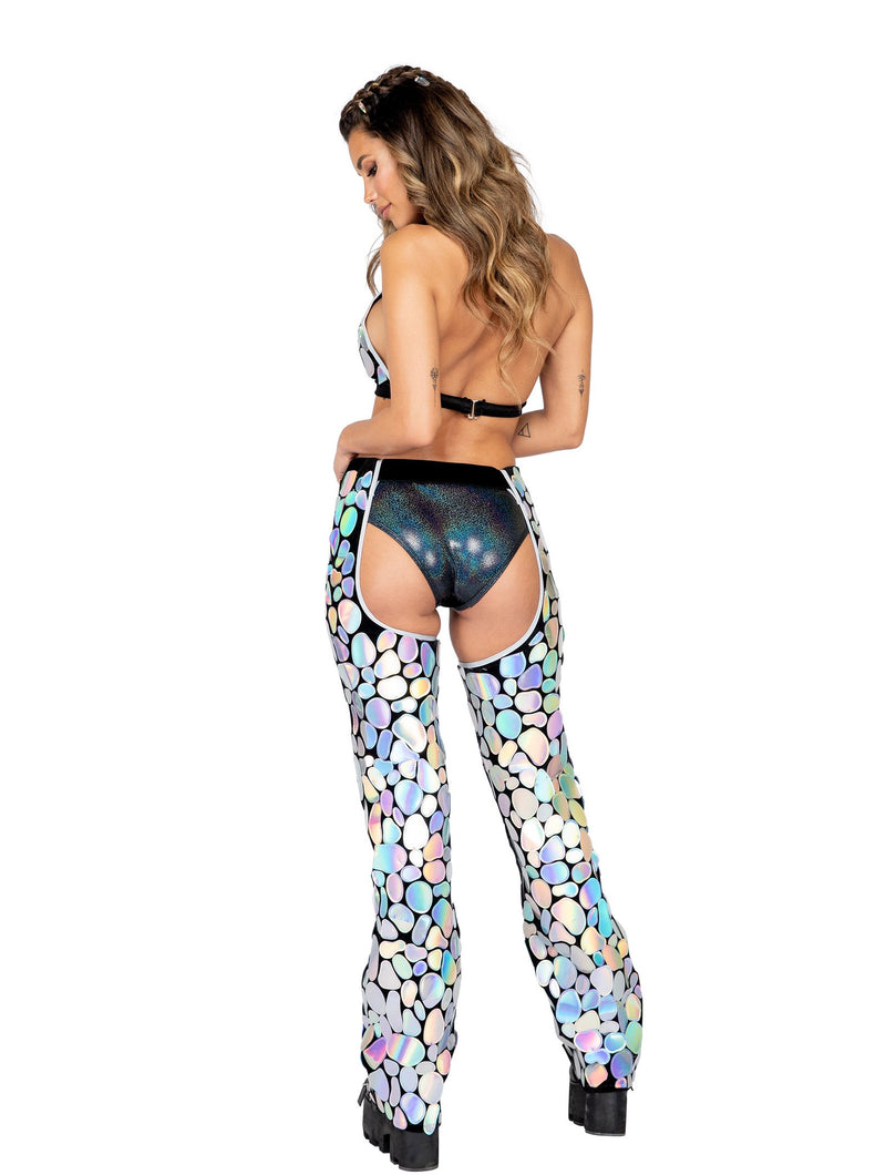 3875 - 1pc Metallic Spotted Velvet Chaps with Belt