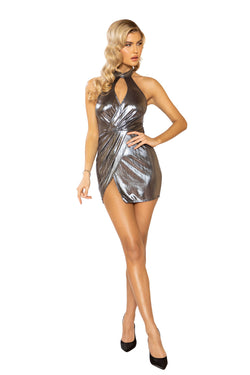 3924 - Shimmer Overlapping Dress with Keyhole