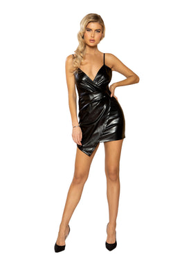 3940 - Leather Overlapping Dress with Zipper Closure